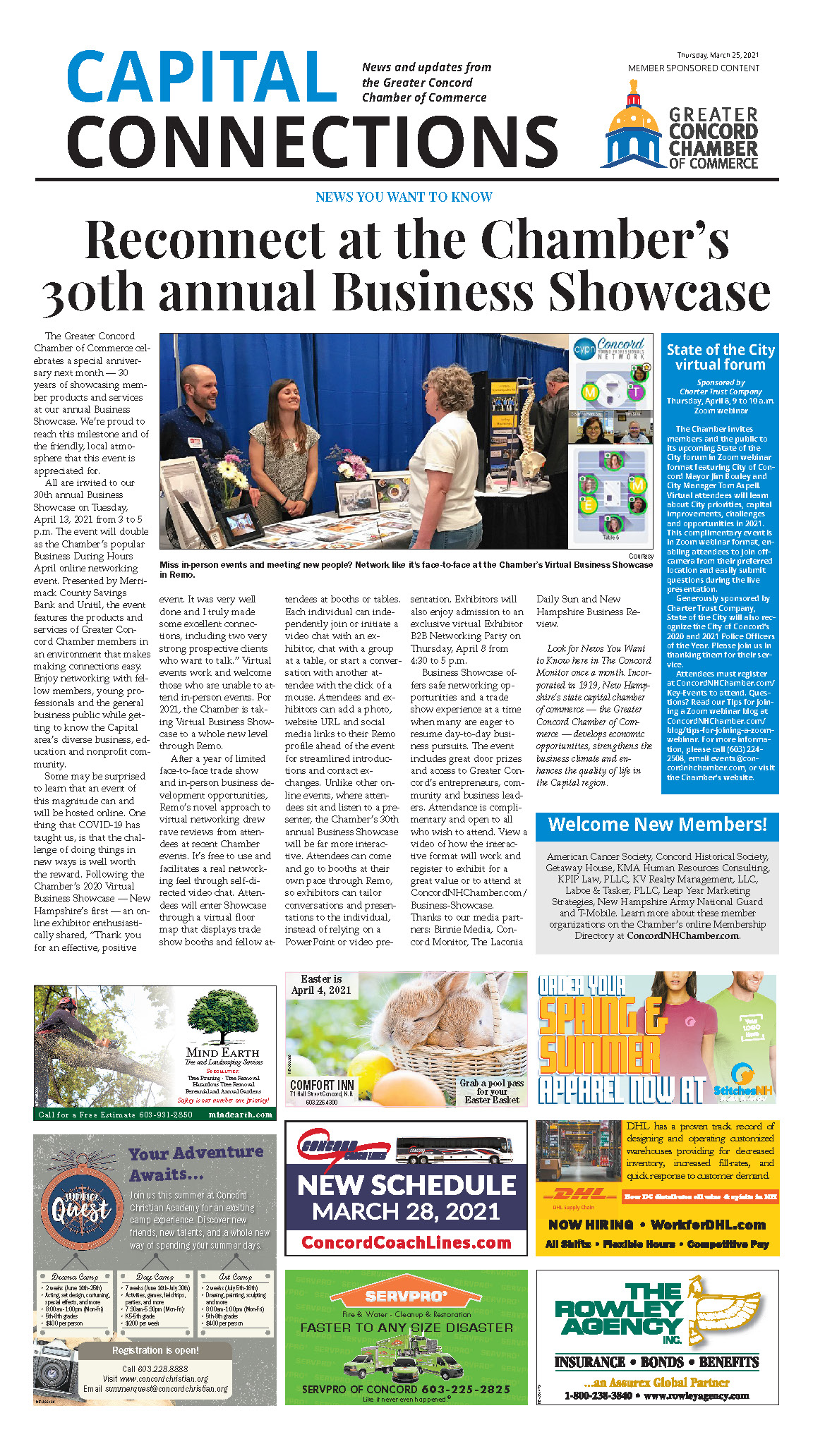 Link to a PDF of the Chamber's Reconnect at the Chamber's 30th annual Business Showcase article in the March 25, 2021 edition of the Concord Monitor