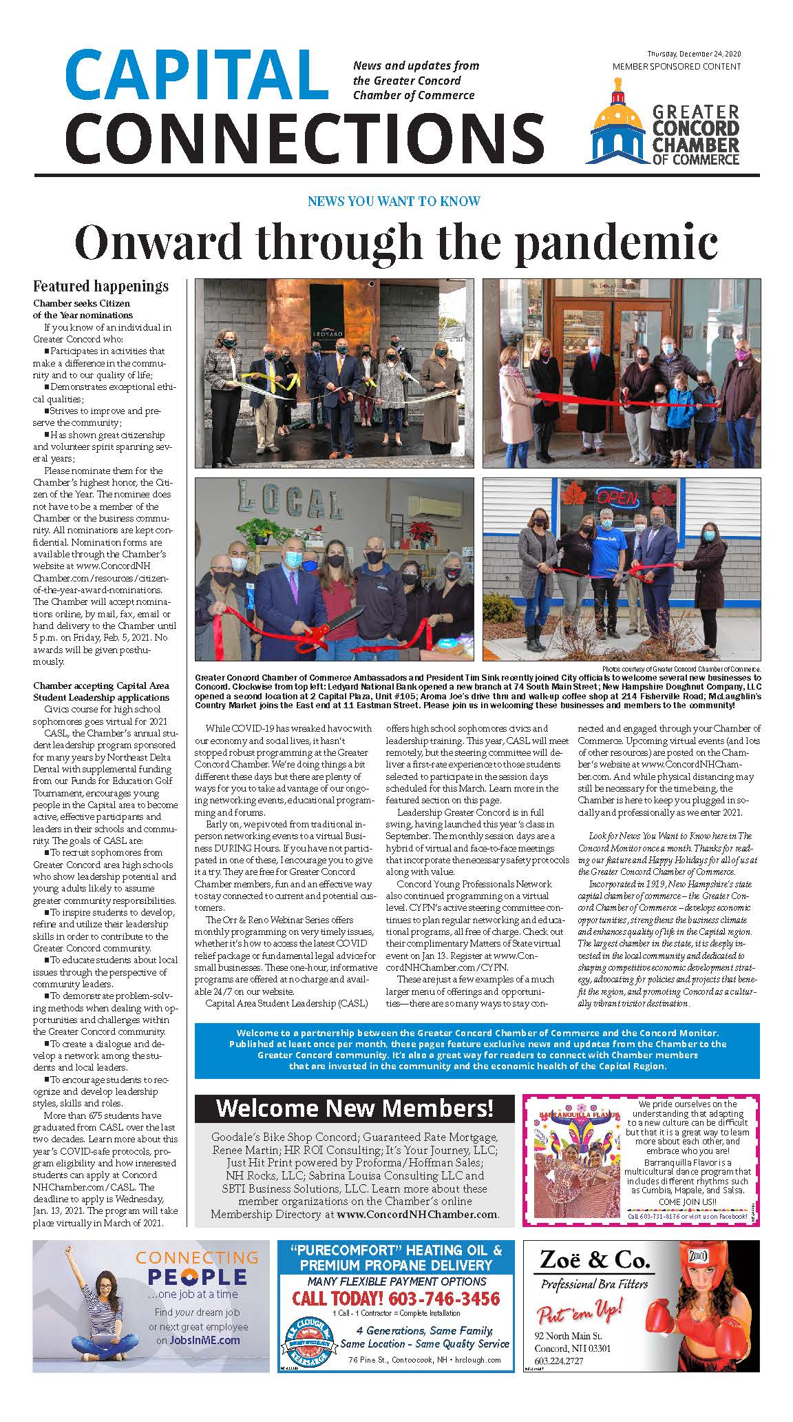 Link to a PDF of the Chamber's Onward through the pandemic article in the December 24, 2020 edition of the Concord Monitor