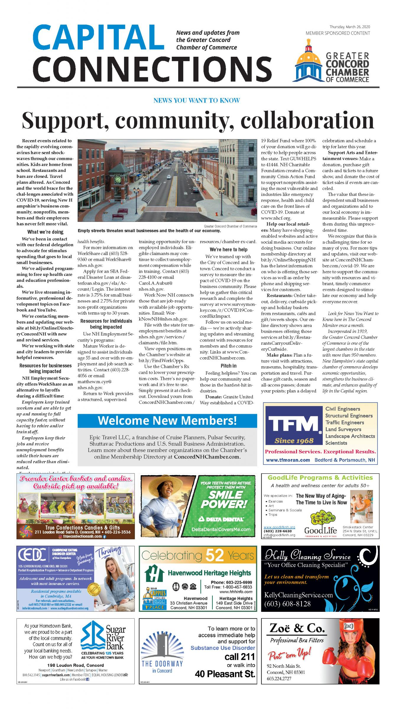 Link to a PDF of the Chamber's Support, Community, Collaboration article in the March 26 2020 edition of the Concord Monitor.