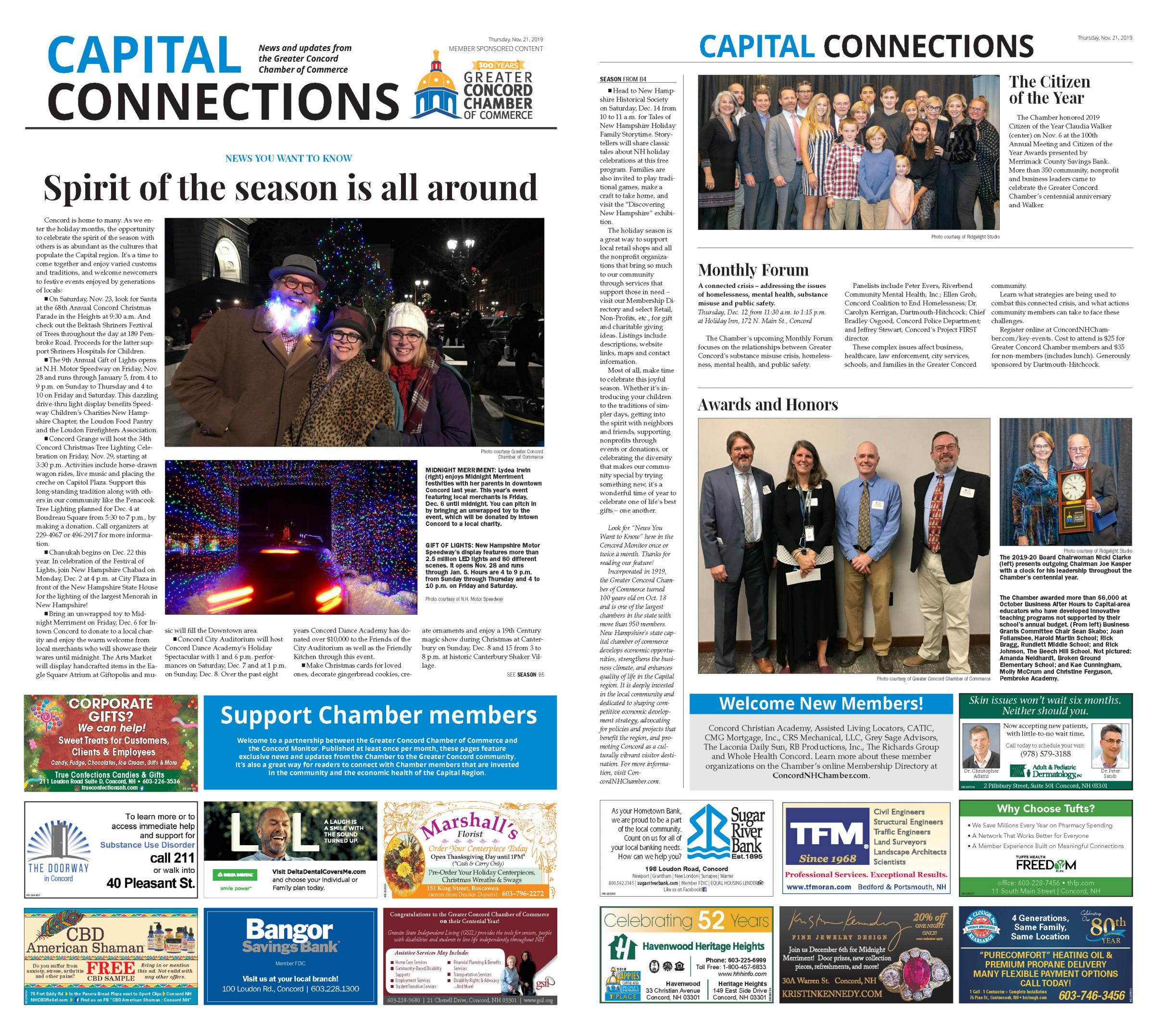 Read the Chamber's November 21 Capital Connections feature in The Concord Monitor.