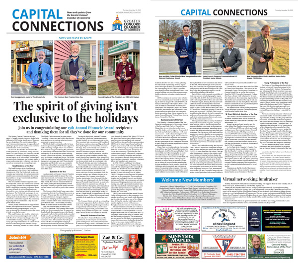 Link to a PDF of the Chamber's The spirit of giving isn't exclusive to the holidays article in the November 26, 2020 edition of the Concord Monitor