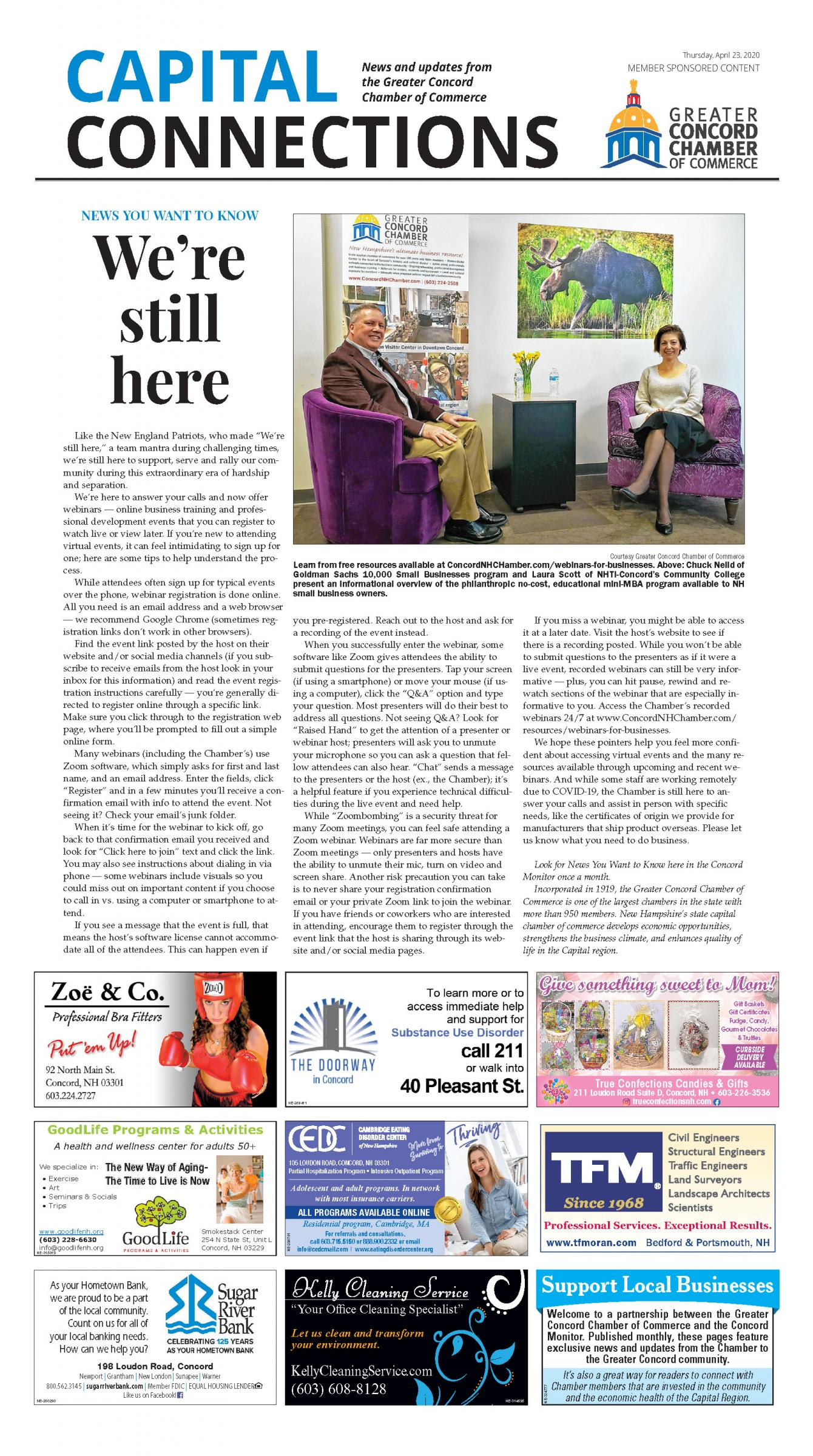 Link to a PDF of the Chamber's We're Still Here article in the April 23 2020 edition of the Concord Monitor.