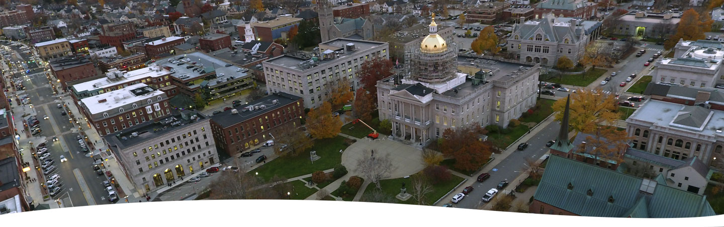 Aerial view of the NH State House and Concord NH courtesy of Mike Souther