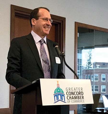 Guest Speaker Jeff Fuhrer at the Greater Concord Chamber of Commerce's Annual Economic Forecast Forum.