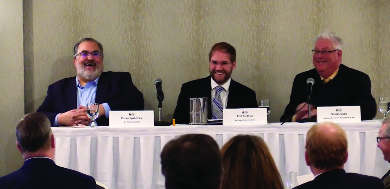 Panelists Dean Spiliotes of NH Political Capital, Phil Sletten of NH Fiscal Policy Institute, and David Juvet of Business & Industry Association of NH will discuss the 2020 Legislative Session at the Chamber's Legislative Outlook forum.