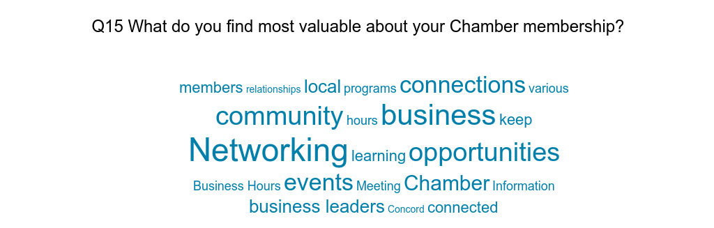 Tag Cloud of answers to What do you find most valuable about your Chamber membership?