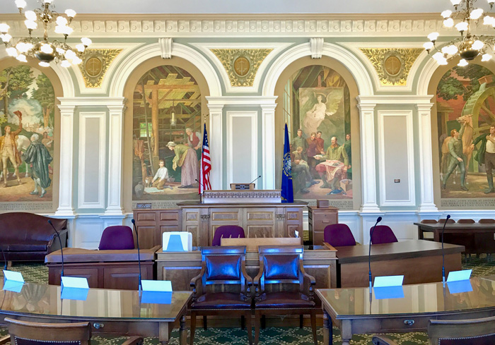 The newly refurbished Senate Chamber gleams as part of preparations for the NH State House bicentennial celebration on Sunday, June 2, 2019 in Concord, New Hampshire.