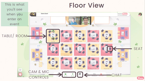 Image that shows what Remo event attendees see when they enter an event like the Chamber's Virtual Business Showcase.