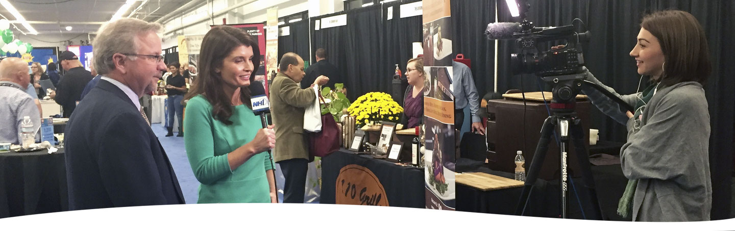 Greater Concord Chamber of Commerce President Tim Sink being interviewed on live television at the 2016 Tri-City Expo.
